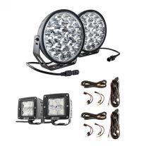 "Adventure Kings Domin8r Xtreme 9"" LED Driving Lights (Pair) + 2x Plug N Play Smart Wiring Harness Kit + 3"" Work Lights (Pair)"