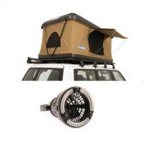 Kings Kwiky MKII Hard Shell Rooftop Tent + Adventure Kings 2in1 LED Light & Fan