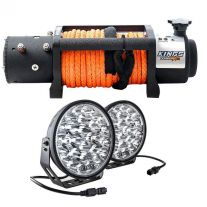 """Domin8r X 12,000lb Winch with rope + Kings Domin8r Xtreme 9"""" LED Driving Lights"""