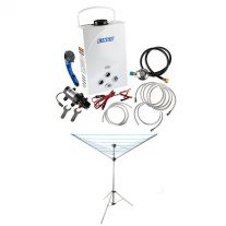 Kings Portable Gas Hot Water System + Adventure Kings Camping Clothesline