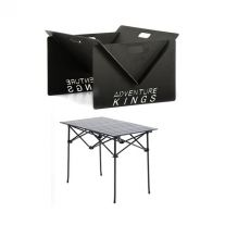 Kings Portable Steel Fire Pit + Adventure Kings Aluminium Roll-Up Camping Table