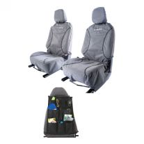 Kings Universal Premium Canvas Seat Covers (Pair) + Car Seat Organiser