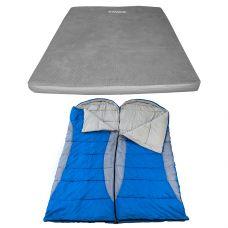 Adventure Kings Self Inflating Foam Mattress - Queen + 2x Hooded Sleeping Bag