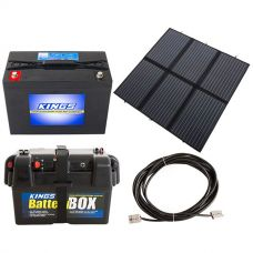 Adventure Kings 200W Solar Blanket with MPPT + Kings 98Ah AGM Deep Cycle Battery + Battery Box + 10m Lead For Solar Panel Extension