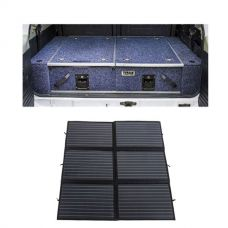Titan Rear Drawer with Wings suitable for Toyota Landcruiser 100 Series (GXL 2005+ Air Con in rear) + 200W Folding Solar Blanket