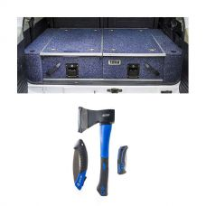 Titan Rear Drawer with Wings suitable for Toyota Landcruiser 100 Series (GXL 2005+ Air Con in rear) + Kings Three Piece Axe, Folding Saw and Knife Kit