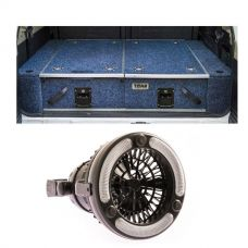 Titan Rear Drawer with Wings suitable for Toyota Landcruiser 100/105 Series (GX/GXL Sept 1998-2005 No Air Con in rear) + 2in1 LED Light & Fan