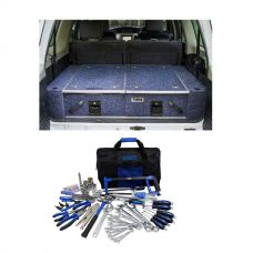 Titan Rear Drawer with Wings suitable for Toyota Landcruiser 100 Series (GXL 2005+ Air Con in rear) + Adventure Kings Tool Kit - Ultimate Bush Mechanic