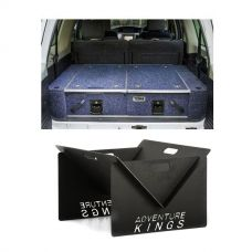 Titan Rear Drawer with Wings suitable for Toyota Landcruiser 100/105 Series (GX/GXL Sept 1998-2005 No Air Con in rear) + Kings Portable Steel Fire Pit