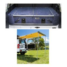 Titan Rear Drawer with Wings suitable for Toyota Landcruiser 100 Series (GXL 2005+ Air Con in rear) + Adventure Kings Rear Awning - 1.4 x 2m
