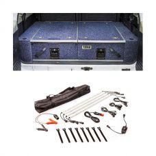 Titan Rear Drawer with Wings suitable for Toyota Landcruiser 100 Series (GXL 2005+ Air Con in rear) + Illuminator 4 Bar Camp Light Kit