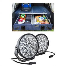 """Titan Rear Drawer with Wings suitable for Toyota Landcruiser 100/105 Series (GX/GXL Sept 1998-2005 No Air Con in rear) + Domin8r Xtreme 9"""" LED Driving Lights (Pair)"""