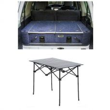 Titan Rear Drawer with Wings suitable for Toyota Landcruiser 100 Series (GXL 2005+ Air Con in rear) + Aluminium Roll Up Camping Table