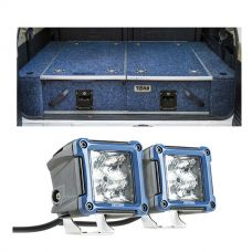 "Titan Rear Drawer with Wings suitable for Nissan Patrol DX, ST, STI, ST-S + 3"" LED Work Light - Pair"
