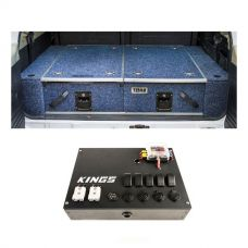 Titan Rear Drawer with Wings suitable for Toyota Landcruiser 100/105 Series (GX/GXL Sept 1998-2005 No Air Con in rear) + 12V Control Box