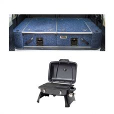 Titan Rear Drawer with Wings suitable for Toyota Landcruiser 100/105 Series (GX/GXL Sept 1998-2005 No Air Con in rear) + Voyager Portable Gas BBQ