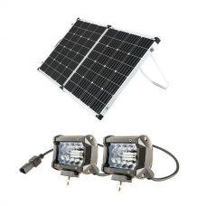 "Adventure Kings 160w Solar Panel + 4"" LED Light Bar (Pair)"