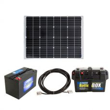 Adventure Kings 110w Fixed Solar Panel + 10m Lead For Solar Panel Extension + AGM Deep Cycle Battery 115AH + Battery Box