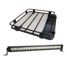 """Steel Roof Rack 1/2 Length + Kings 20"""" Slim Line LED Light Bar"""