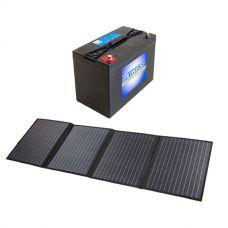 Adventure Kings 120W Solar Blanket with MPPT Regulator +  AGM Deep Cycle Battery 115AH
