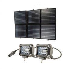 """Adventure Kings 120W Portable Solar Blanket + 4"""" LED Light Bar (Pair)"""