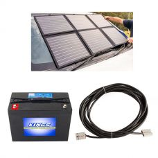 Adventure Kings 120W Portable Solar Blanket + AGM Deep Cycle Battery 98AH + 10m Lead For Solar Panel Extension