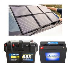 Adventure Kings 120W Portable Solar Blanket + Battery Box + AGM Deep Cycle Battery 98AH