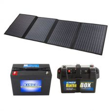 120W Solar Blanket with MPPT Regulator + Kings 98Ah AGM Deep Cycle Battery + Adventure Kings Battery Box