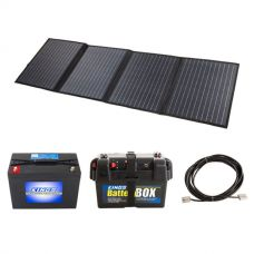 120W Solar Blanket with MPPT Regulator + Kings 98Ah AGM Deep Cycle Battery + Adventure Kings Battery Box + 10m Lead For Solar Panel Extension