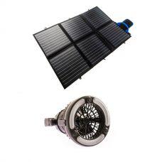 Adventure Kings 120W Portable Solar Blanket + 2in1 LED Light & Fan