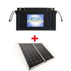 138Ah AGM Deep-Cycle Battery + 250W Portable Solar Panel incl regulator