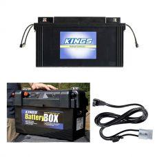 138Ah AGM Deep-Cycle Battery + Adventure Kings Maxi Battery Box + Kings 1.8m 12v Fridge Cable
