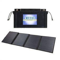 120W Solar Blanket with MPPT Regulator +138Ah AGM Deep-Cycle Battery
