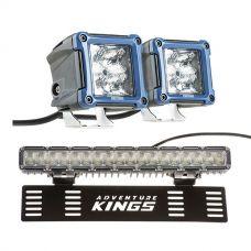 """Adventure Kings 3"""" LED Work Light - Pair + 15"""" Numberplate LED Light Bar"""