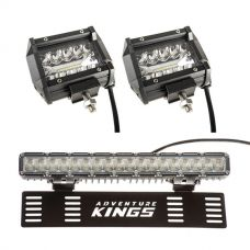 "Adventure Kings 4"" LED Light Bar (Pair) + 15"" Numberplate LED Light Bar"