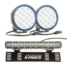 """Kings Domin8r X 7"""" Driving Lights fitted with OSRAM LEDs (Pair) + 15"""" Numberplate LED Light Bar"""