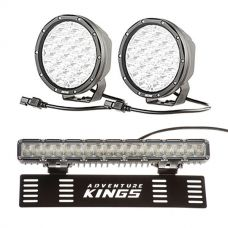 "Kings 7"" LED Driving Lights (pair) + 15"" Numberplate LED Light Bar"