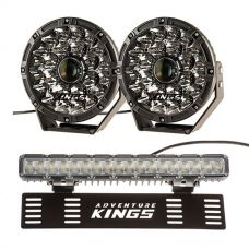 "Adventure Kings 8.5"" Laser Driving Lights + 15"" Numberplate LED Light Bar"