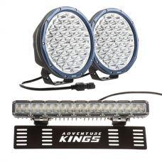 "Kings OSRAM Domin8r X 9"" LED Driving Lights (Pair) + 15"" Numberplate LED Light Bar"