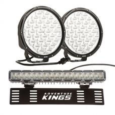 "Kings 9"" LED Driving Lights (pair) + 15"" Numberplate LED Light Bar"