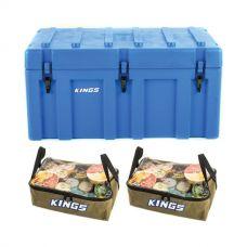 Adventure Kings 156L Storage Box + 2x Clear Top Canvas Bag