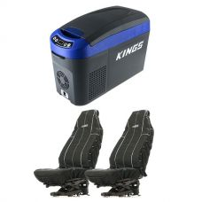 Adventure Kings 15L Centre Console Fridge/Freezer + Adventure Kings Heavy Duty Seat Covers (Pair)