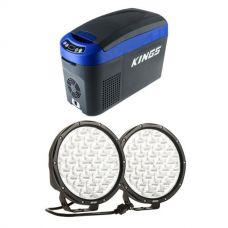"15L Centre Console Fridge/Freezer + Kings 9"" LED Driving Lights (pair)"
