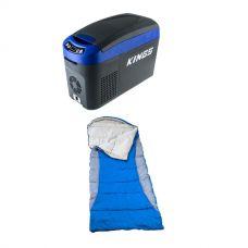 Adventure Kings 15L Centre Console Fridge/Freezer + Hooded Sleeping Bag - Right-Hand Zipper
