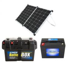 Adventure Kings 160w Solar Panel + Battery Box + AGM Deep Cycle Battery 98AH