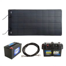 Adventure Kings 160W Semi-Flexible Solar Panel + 10m Lead For Solar Panel Extension + AGM Deep Cycle Battery 115AH + Battery Box