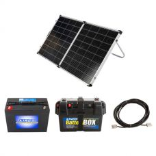 Kings Premium 160w Solar Panel with MPPT Regulator + AGM Deep Cycle Battery 98AH + Battery Box + 10m Lead For Solar Panel Extension