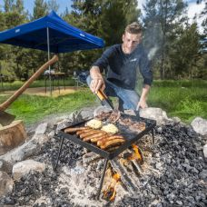Kings Essential BBQ Plate | Grill/Hotplate Combo | Heavy-Duty Steel | Folding Legs
