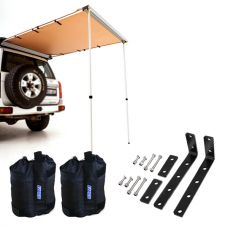 Adventure Kings Rear Awning 1.4 x 2m + Awning Mounting Brackets (Pair) + Adventure Kings Sand Bags (pair)