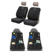 Adventure Kings Neoprene Front Seat Covers + 2x Adventure Kings - Car Seat Organisers